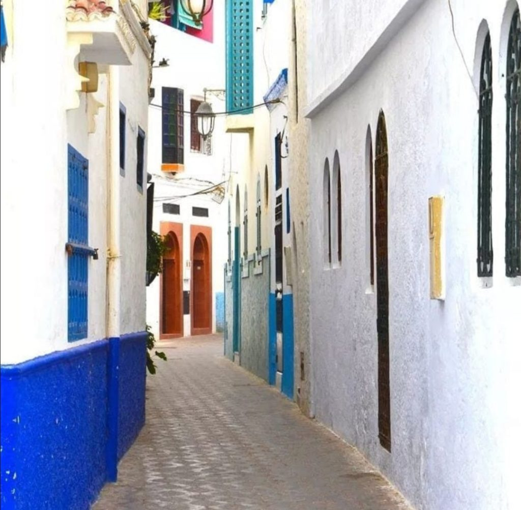 Cosa fare a Essaouira Altra immagine della Medina di Essaouira, colorata e moderna.