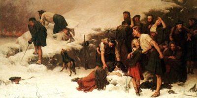 Un dipinto del massacro del Glen Coe, che si trova al centro visitatori.