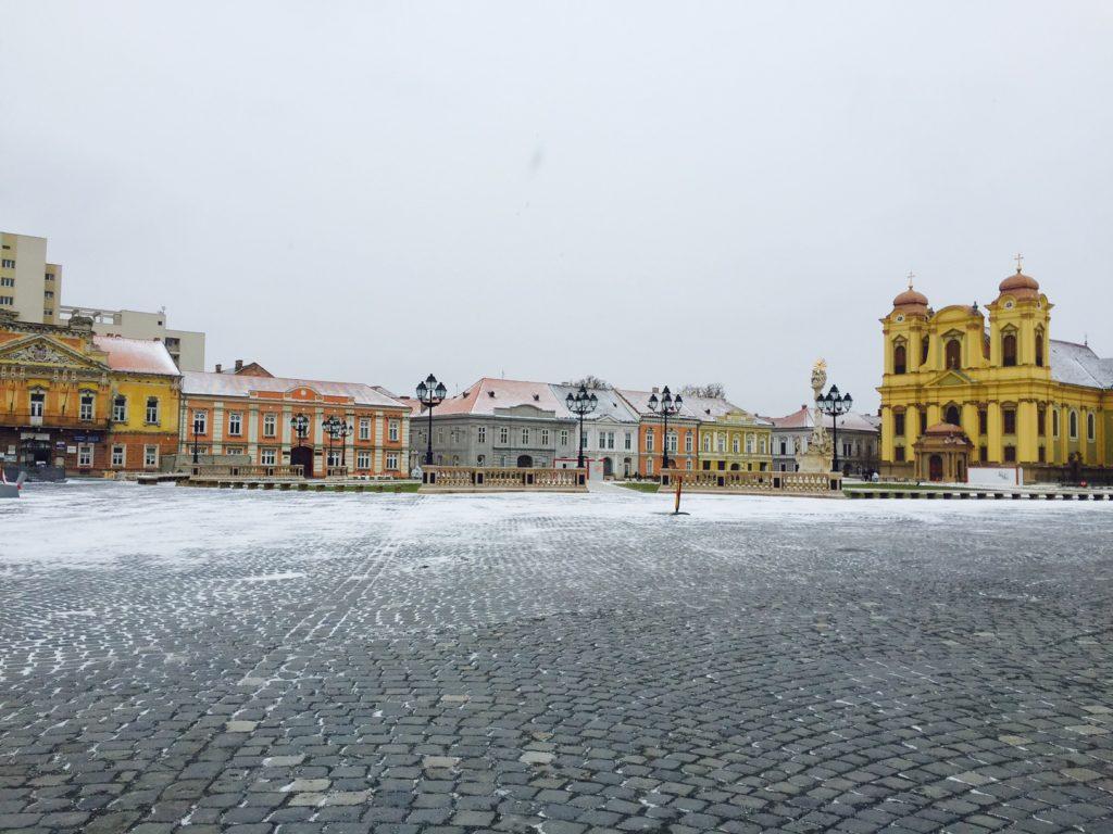 La Piata Uniti come si è presentata a gennaio quando eravamo a Timisoara.