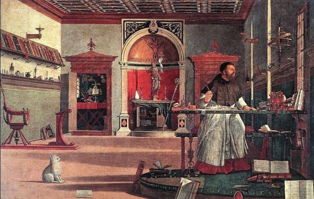 Il quadro di Sant'Agostino esposto.