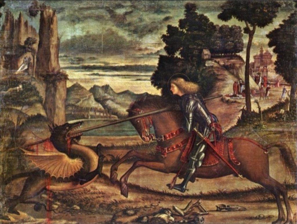 L'immagine di San Giorgio esposta a Venezia.