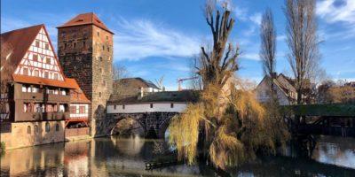 Vista sul famose ponte del buoia di Norimberga.