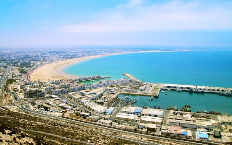 Vista sul porto di Agadir, Marocco.