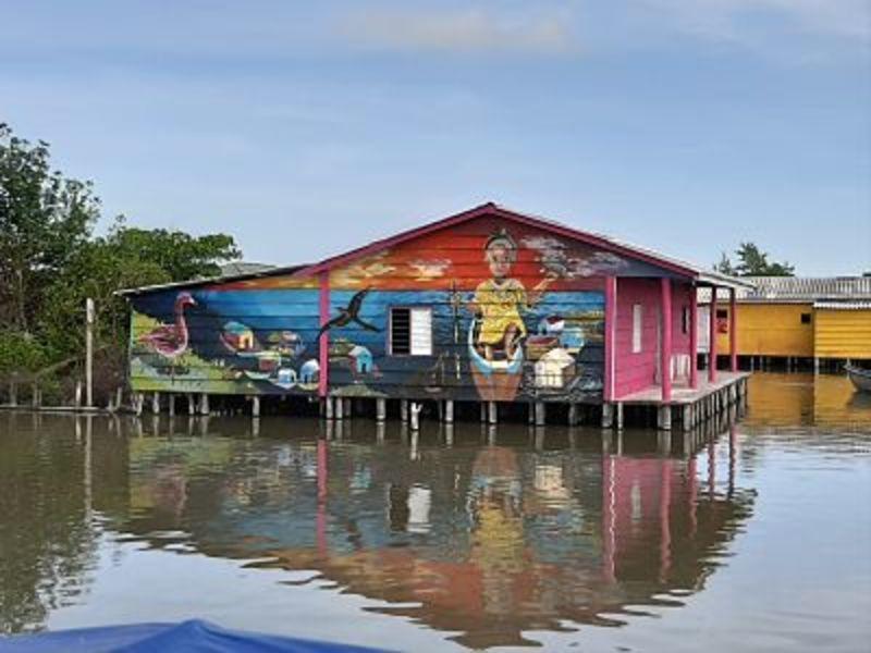 Casa dipinta a Nueva Venecia in Colombia.