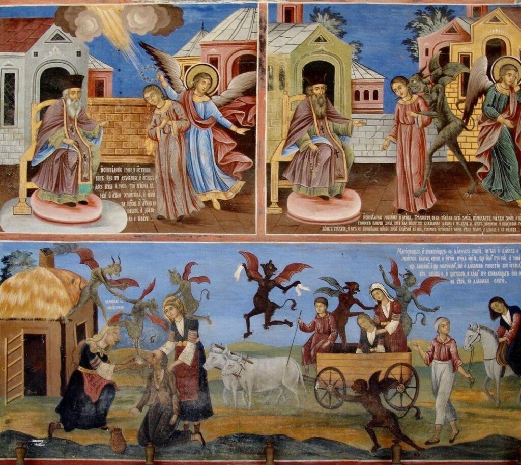 Monastero di Rila in Bulgaria, dettagli dei dipinti.